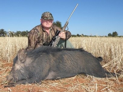 Mr Andrew Palmer And A Western NSW Wild Boar Taken At 200m With A Remington 7mm 08 And Woodleigh 140gr Weldcore PP SN At 2860fps